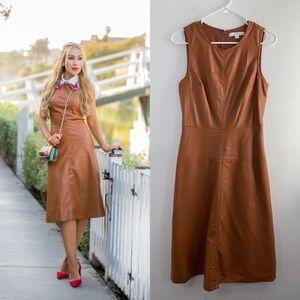 Piperlime Cognac Faux Leather Midi Dress